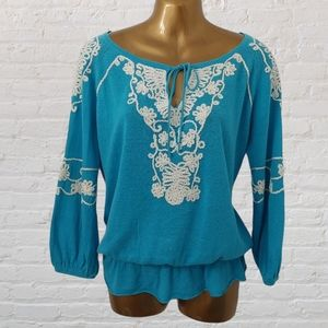 Cache embroidered knit linen blouse size M